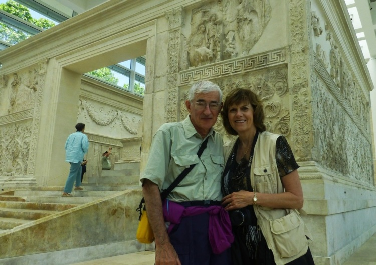 Dom and Sarah Crossan in front of the Ara Pacis Augustae in Rome